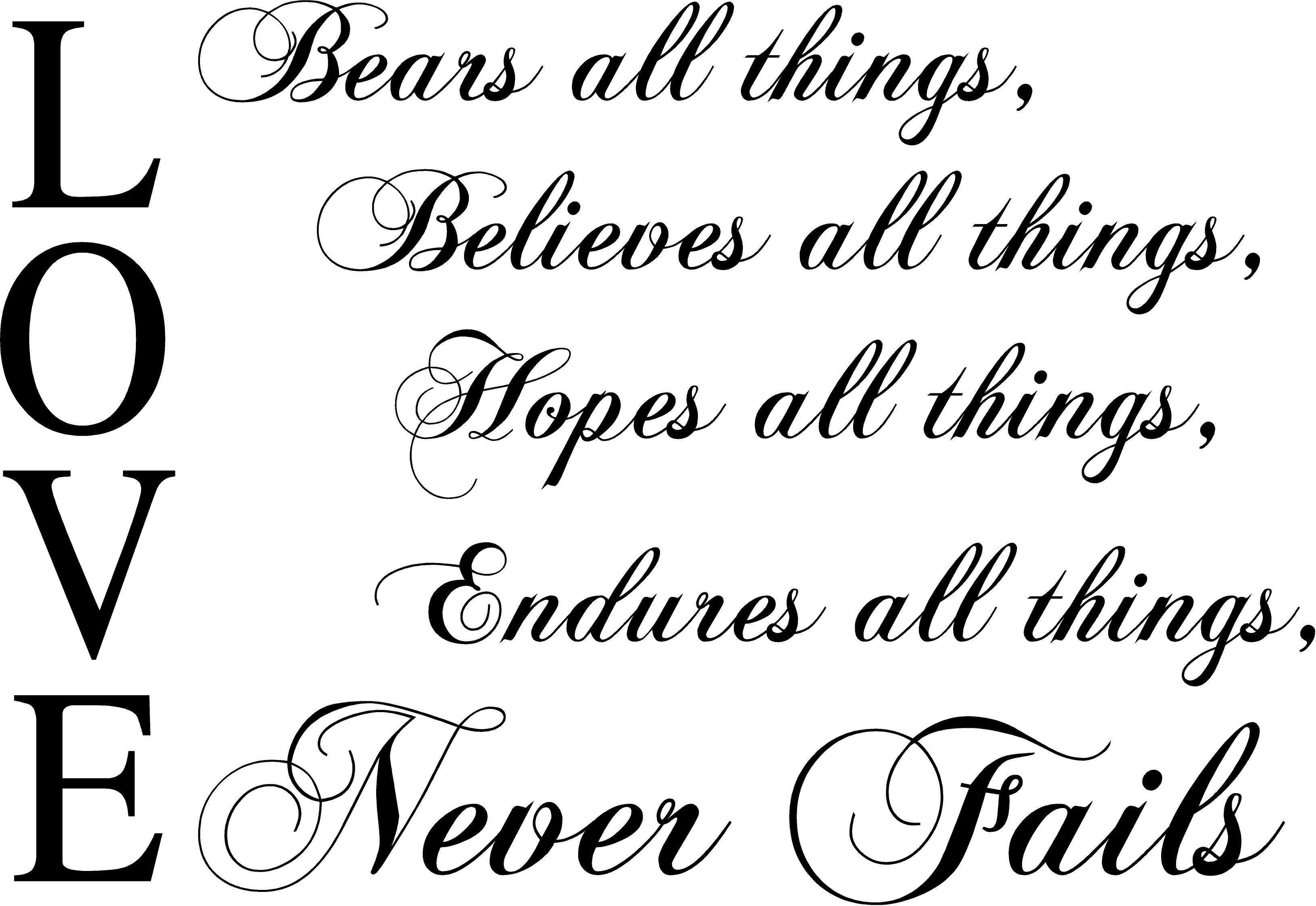 Merveilleux Love Bears All Thingsu2026Love Never Fails