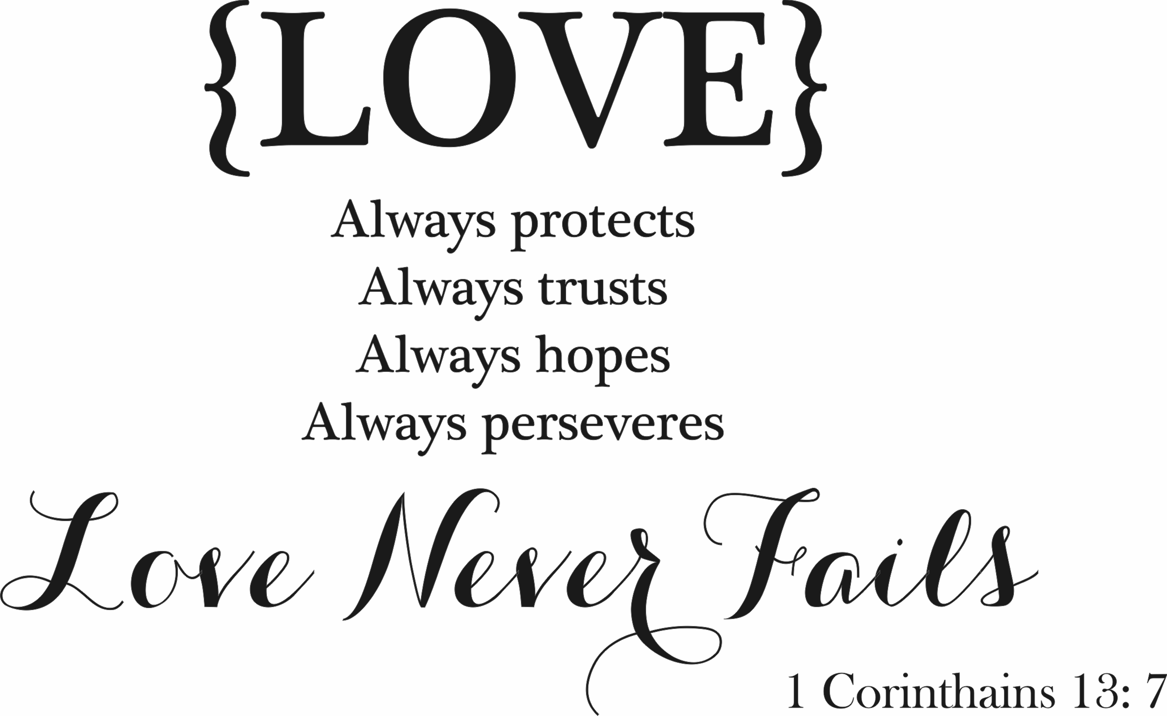 Genial Love Never Fails  Corinthians
